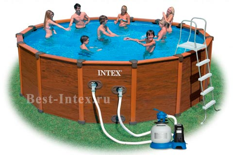intex sequoia spirit wood grain frame pool 54966 569 135. Black Bedroom Furniture Sets. Home Design Ideas